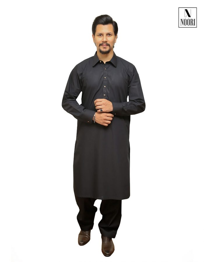 Unstitched Black Kameez Shalwar