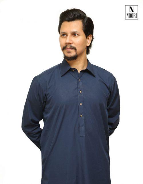 Cotton Navy Blue Kameez Shalwar