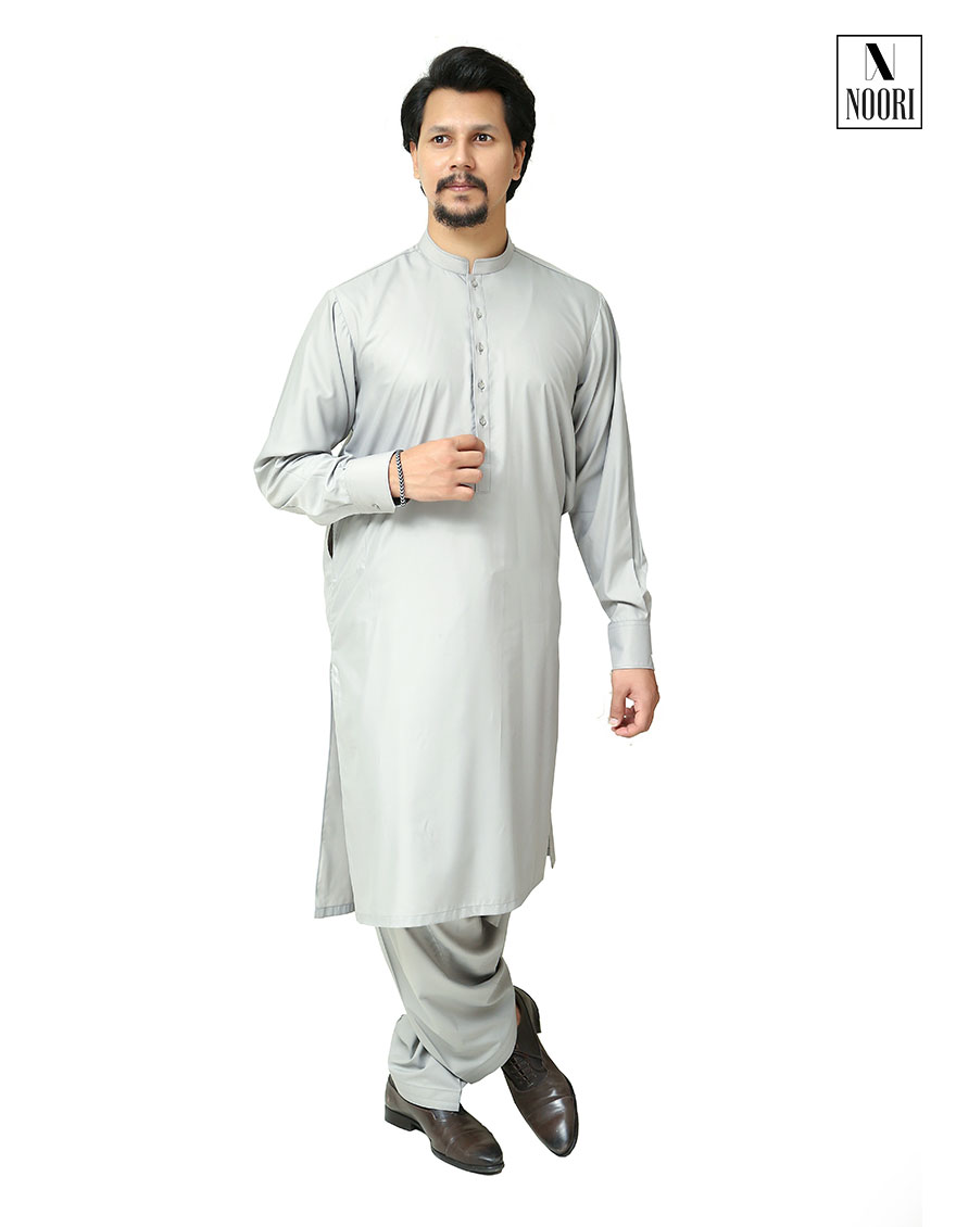 Smoke Grey Kameez Shalwar Wash and Wear