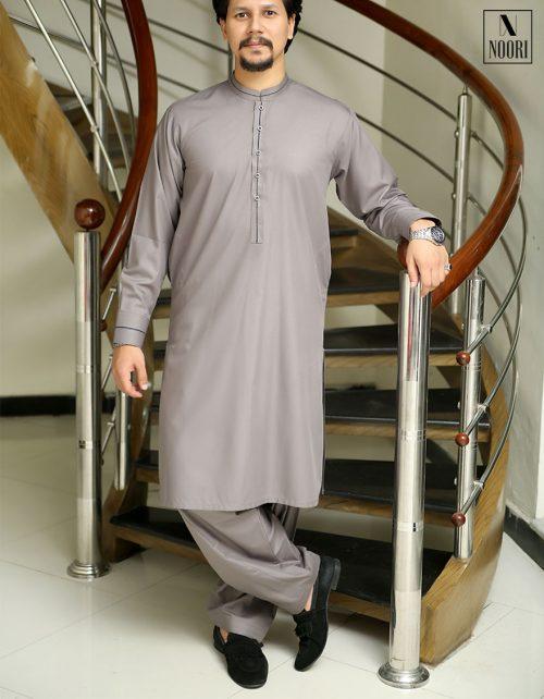 Unstitched Pearl Grey Kameez Shalwar