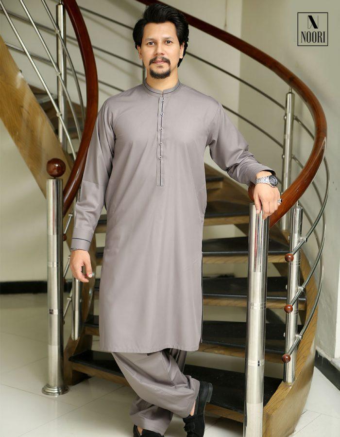 Pearl Grey Kameez Shalwar
