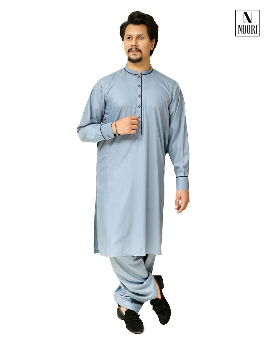 Unstitched Steel Blue Kameez Shalwar
