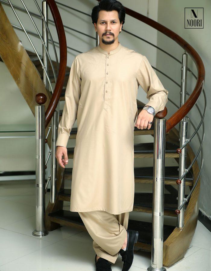 Unstitched Light Brown Kameez Shalwar