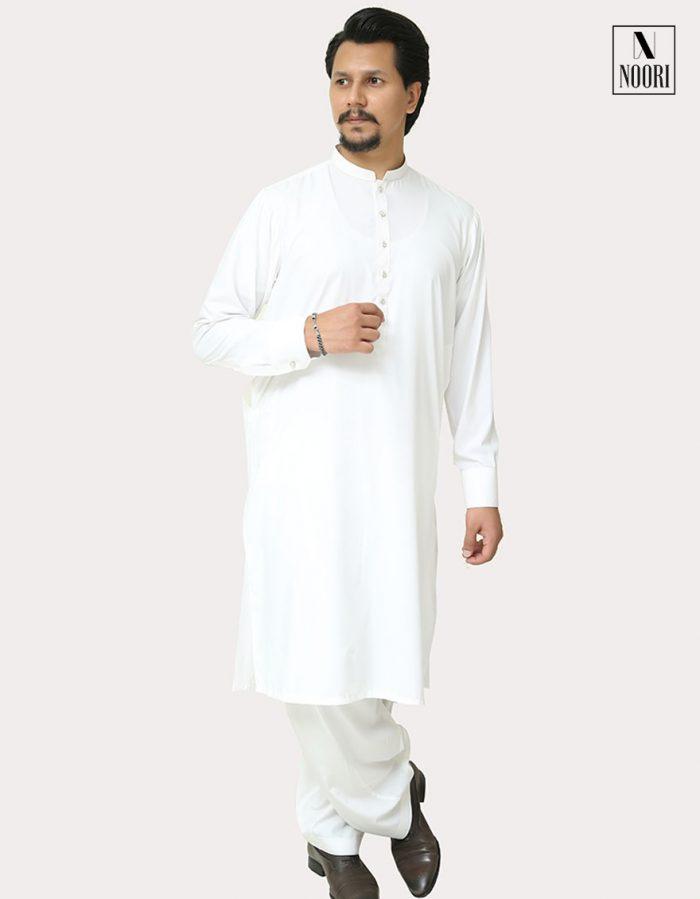 Unstitched White Kameez Shalwar