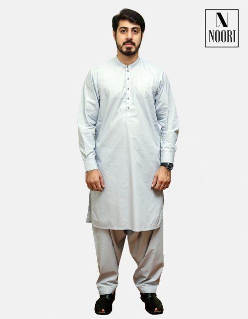 Unstitched Smoke Grey Kameez Shalwar