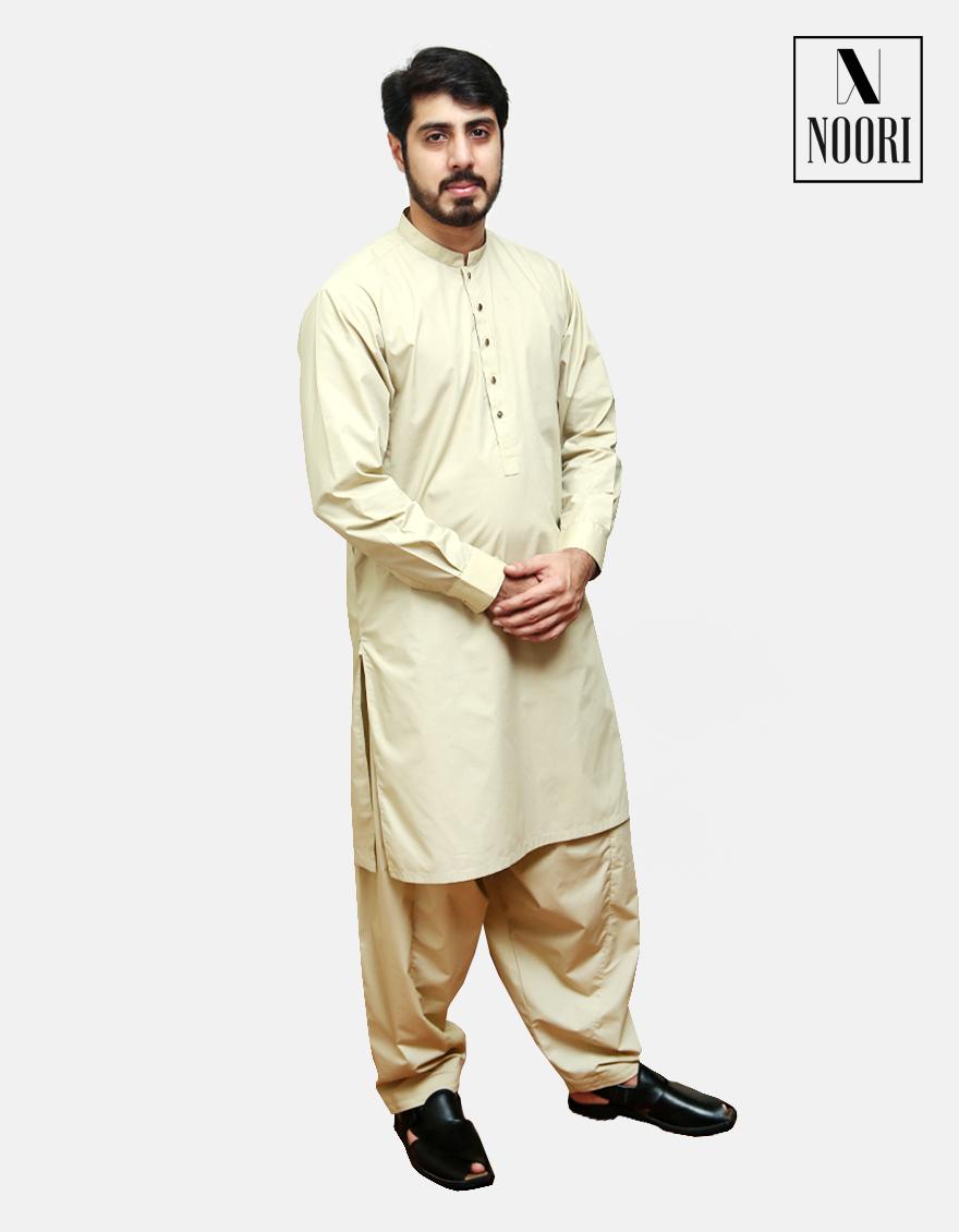 Unstitched Camel Kameez Shalwar