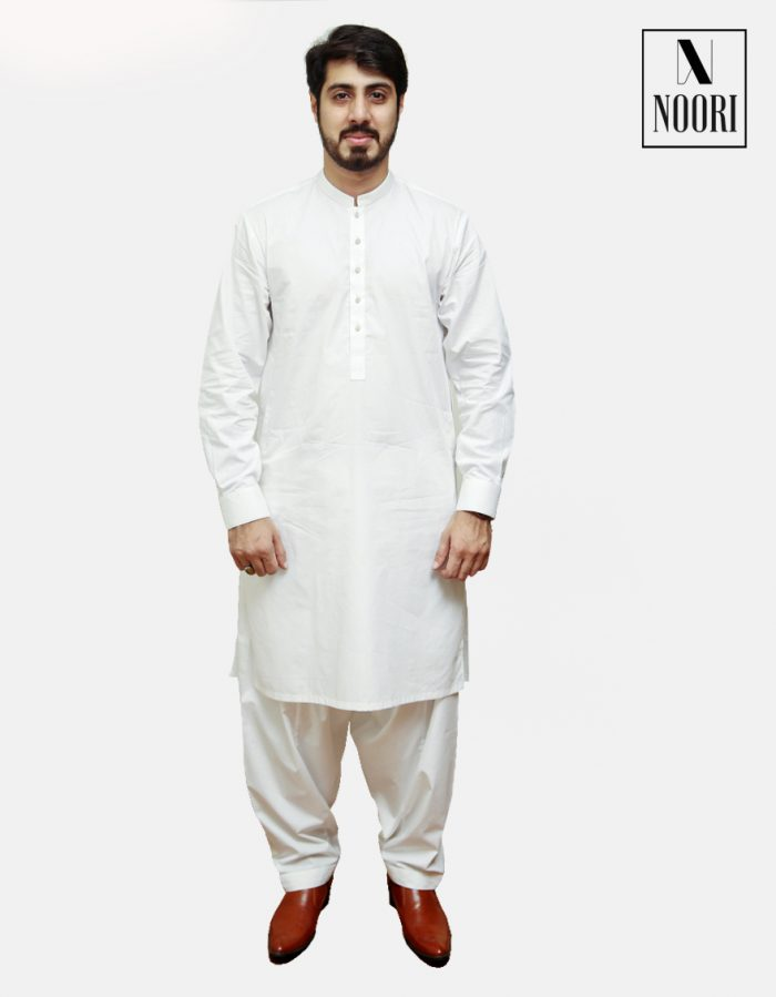 Unstitched Cotton White Kameez Shalwar