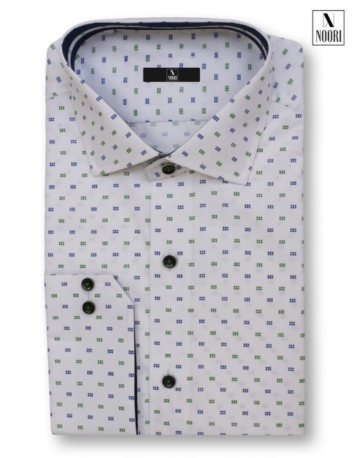 White With Blue Green Dots